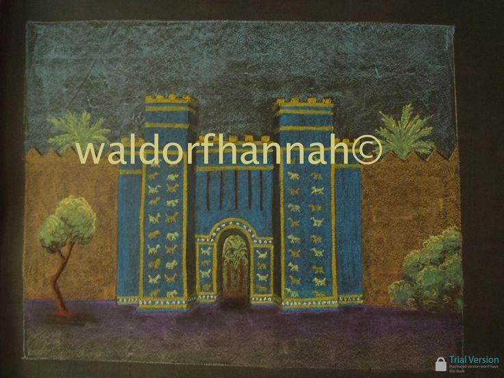 Waldorf ~ 5th grade ~ Ancient Mesopotamia ~ chalkboard drawing