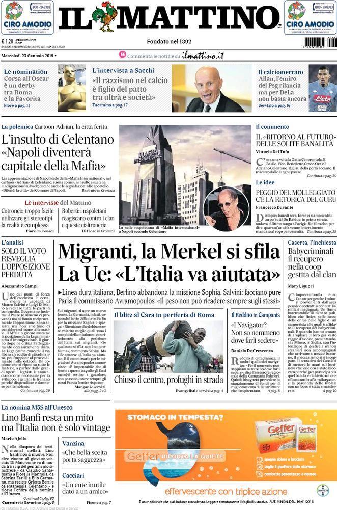 Rassegna Stampa Del 23 Gennaio 2019 Le Prime Pagine Dei Quotidiani In Edicola Oggi Gennaio Stampe Notizie