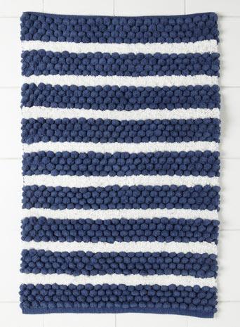 Blue multi wide stripe bolbble mat for the home nautical bathroom ideas pinterest