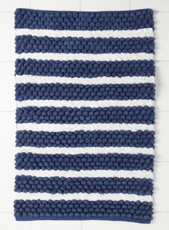 Blue Multi Wide Stripe Bolbble Mat For The Home