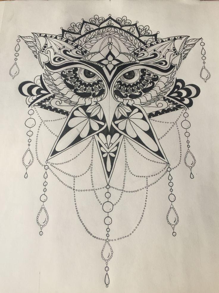 Owl, pen art, black and white, mandala style, tattoo or ink