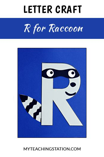 Letter of the week craft activity: Letter R is for Raccoon. Simple and easy letter craft for children in #preschool or #kindergarten.