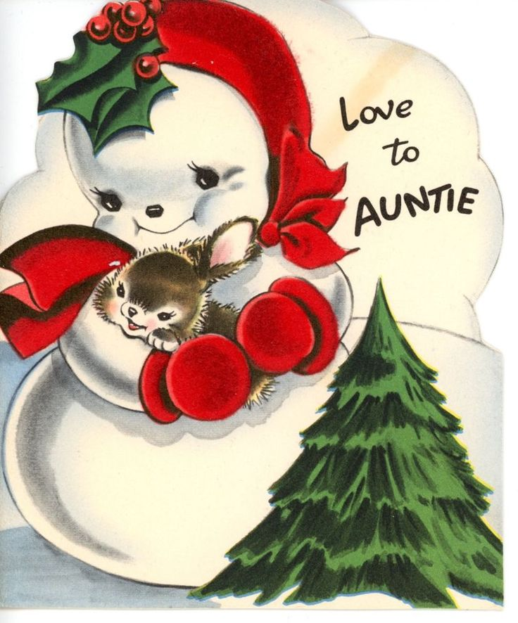 Vintage Norcross Christmas Greeting Card Red Felting Snowman w/ rabbit 2290