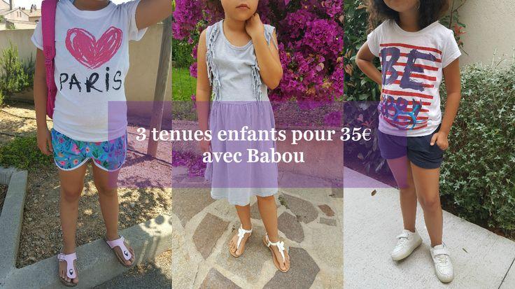 """Nini @siennalou a fait ses valises avec 3 tenues d'été pour moins de 35€ chez BABOU (hors Soldes !)  - Tenue n°1: un short imprimé """"Jungle"""" à 4€50, un T-shirt """"Love Paris"""" à 4€ et un paire de sandales à 6€,  - Tenue n°2 : un robe grise à 8€ et une paire de sandales à petits papillons à 6€, - Tenue n°3 : un T-shirt à 3€50 et un short bleu marine à 3€."""