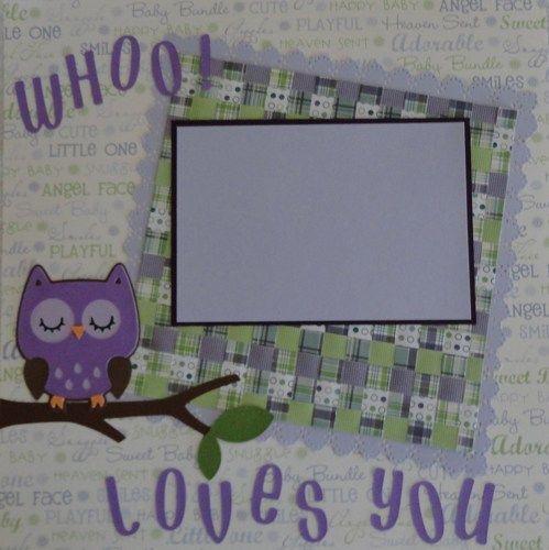 Cricut! Owl Baby Girl Scrapbook Page Paper Piecing   BabyBearsCottage - Paper/Books on ArtFire