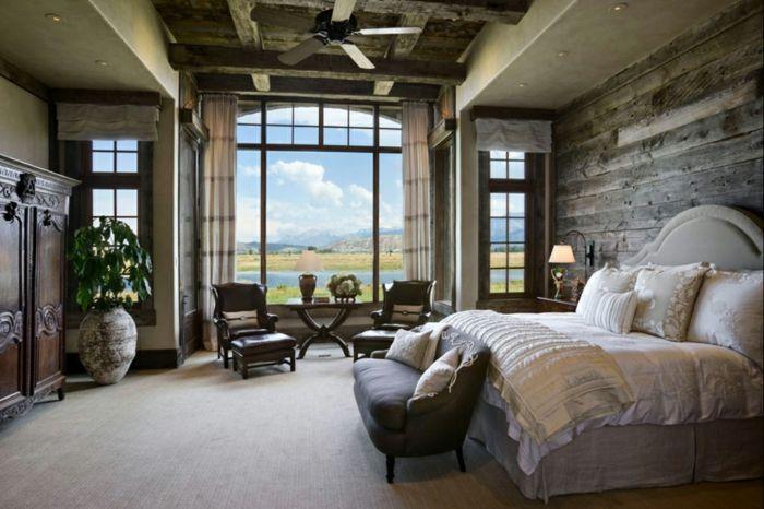 cabañas de madera, dormitorio de encanto con vista, muebles vintage ...
