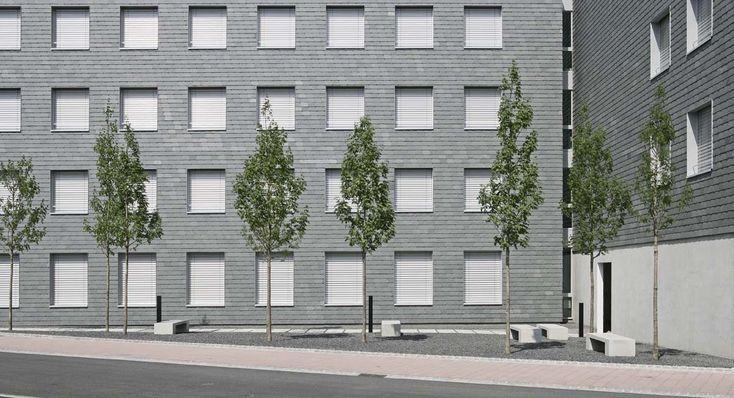 Fensterfront mit Schieferfassade aus polargrünem ColorSklent von Rathscheck Schiefer