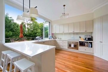 kitchen with servery to outdoor deck