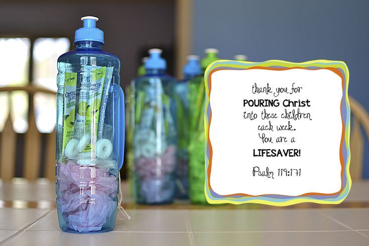 """thank you for pouring Christ into the children each week. you're a lifesaver!"" Dollar store leader appreciation gifts! drink bottle, lemonade packets, lifesaver mints  #awana #leader_appreciation"