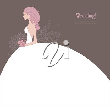 iCLIPART - Clip Art Illustration of an Elegant Bride in Her Wedding Dress #clipart #illustration #wedding
