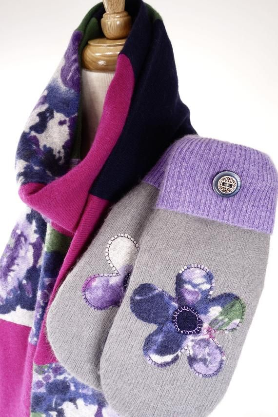 Luxurious Upcycled Cashmere Scarf and wool SUEDE palm