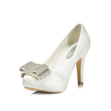 Satin Women's Wedding Stiletto Heel Platform Pumps/Heels With Rhinestone Shoes(More Colors) – USD $ 59.99