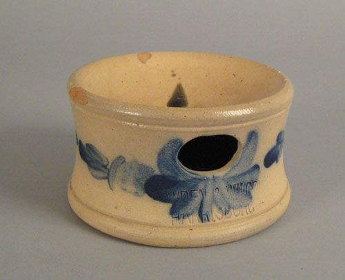 "Realized Price: $360 Pennsylvania stoneware spittoon, 19th c., impressed Cowden & Wilcox Harrisburg, with cobalt decoration, 3 3/4"" h., 6 ..."