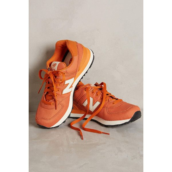 New Balance 574 Sneakers ($80) ❤ liked on Polyvore featuring shoes, sneakers, orange, new balance, new balance shoes, new balance trainers, new balance sneakers and orange shoes