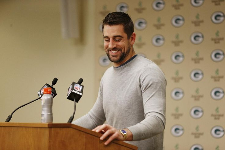 Aaron at the press conference after the divisional