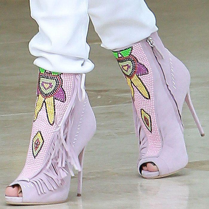 Jennifer Lopez's Mayan-Beaded Pink Fringe Booties — Gorgeous or Gaudy?