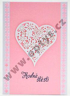 Výřez květinové srdce bílé, 12 ks