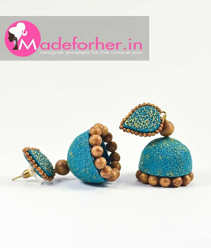 Buy Blue Polymer Clay Jhumka Fashion Jewellery Online Shopping