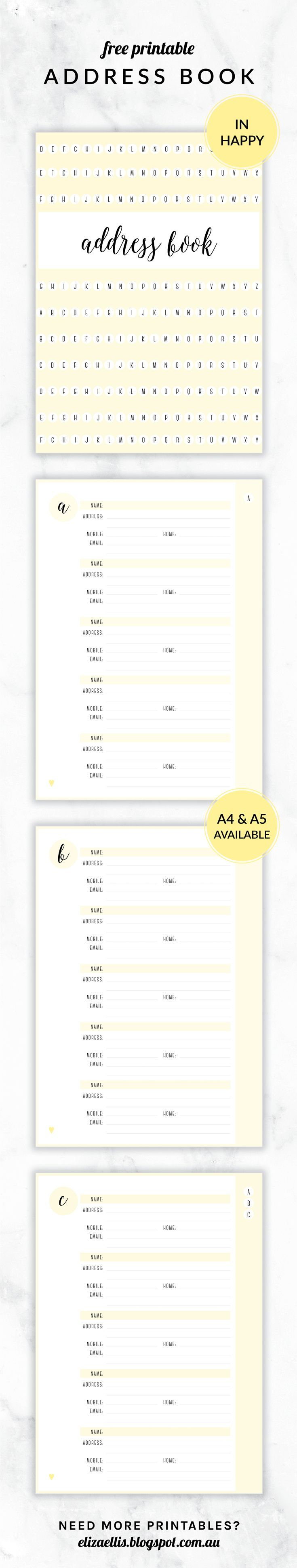 Free Printable Irma Address Book // Eliza Ellis. Available in 6 colors and in both A4 and A5 sizes.