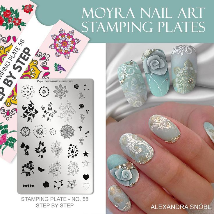 NEW FROM MOYRA! STAMPING PLATE NO. 58 STEP BY STEP With layered stamping we can create multicoloured stamp by stamping different parts in different colours on each other with a clear stamper. The plate we designed for this technique is our No. 58 STEP BY STEP plate. moyrastamping.com #moyra#wearecolours#moyraplates#stampingplate#stepbystep#layeredstamping#stampingpolish#körömnyomda#körömdíszítés#nyomdalemez#mani#manicure#nailart#naildecoration#naildesign#alexandrasnobl#rétegesnyomdázás#st...