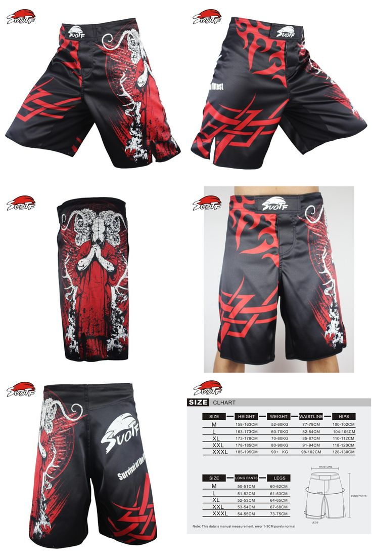 [Visit to Buy] SUOTF Red Death Terror combat fitness boxing pants short mma pretorian Tiger Muay Thai boxing shorts kickboxing breathable MMA #Advertisement