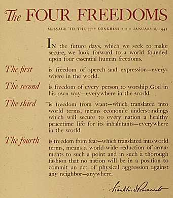 the four essential human freedoms The address, now known as the four freedoms address, contained these words: in the future days, which we seek to make secure, we look forward to a world founded upon four essential human freedoms the first is freedom of speech and expression -- everywhere in the world.
