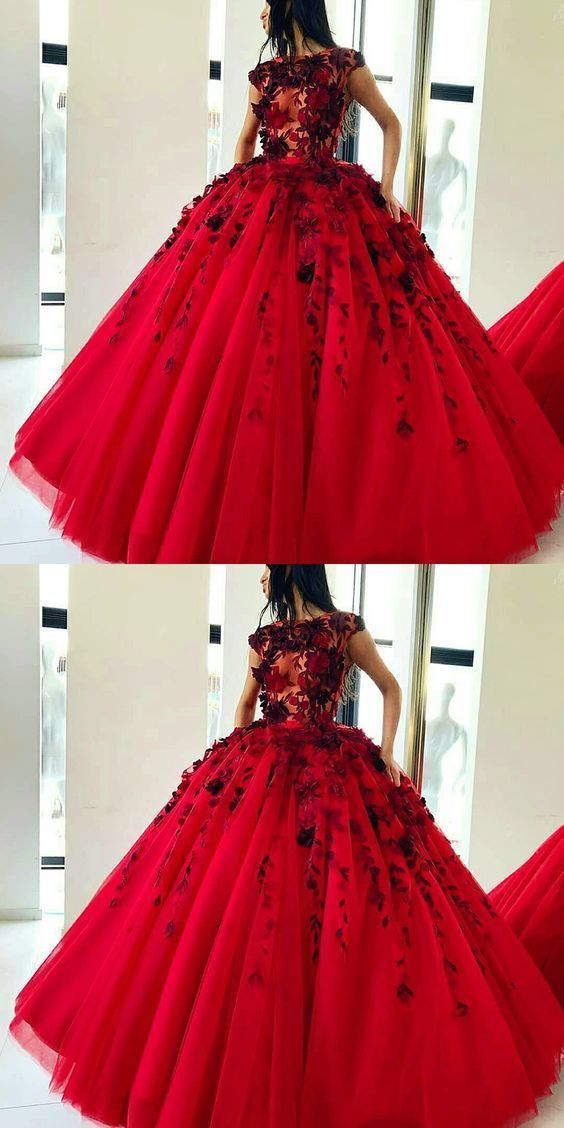 87306e656 Ball Gown Jewel Sweep Train Red Tulle Prom Dress with Appliques Flowers by  PrettyLady, $218.71 USD