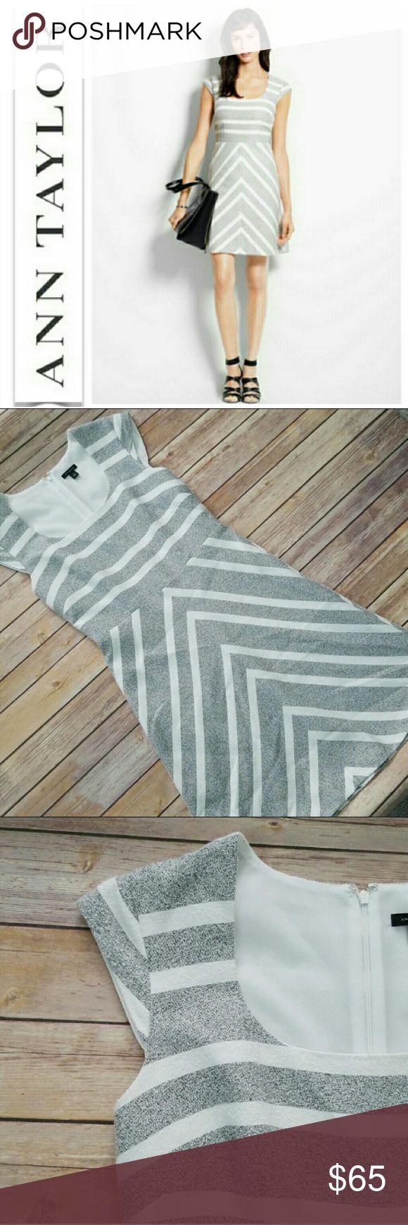 Ann Taylor Gray Amp White Striped Chevron Dress Gray And