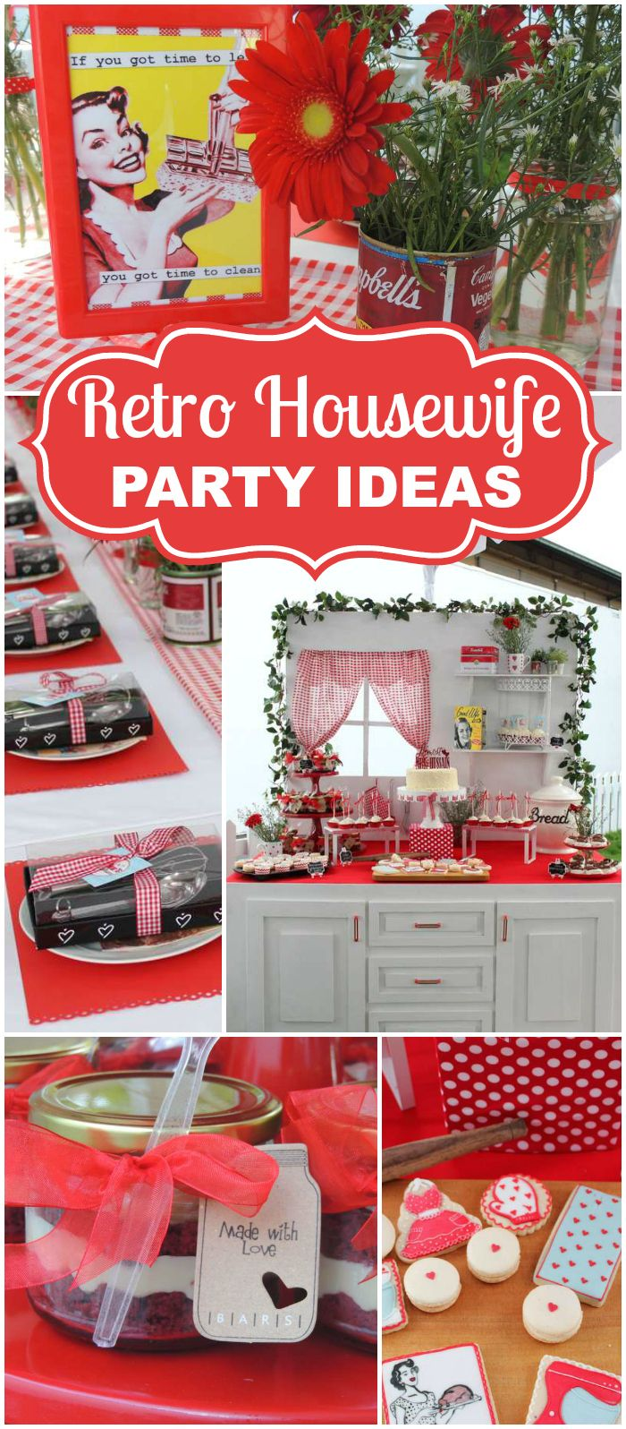 Check out this bridal shower, it's like stepping into a kitchen from the 1950's! See more party ideas at CatchMyParty.com!