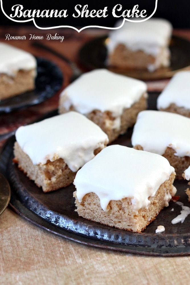 Banana sheet cake with cream cheese frosting – moist and sweet from the mashed bananas with a little tangyness from the cream cheese frosting