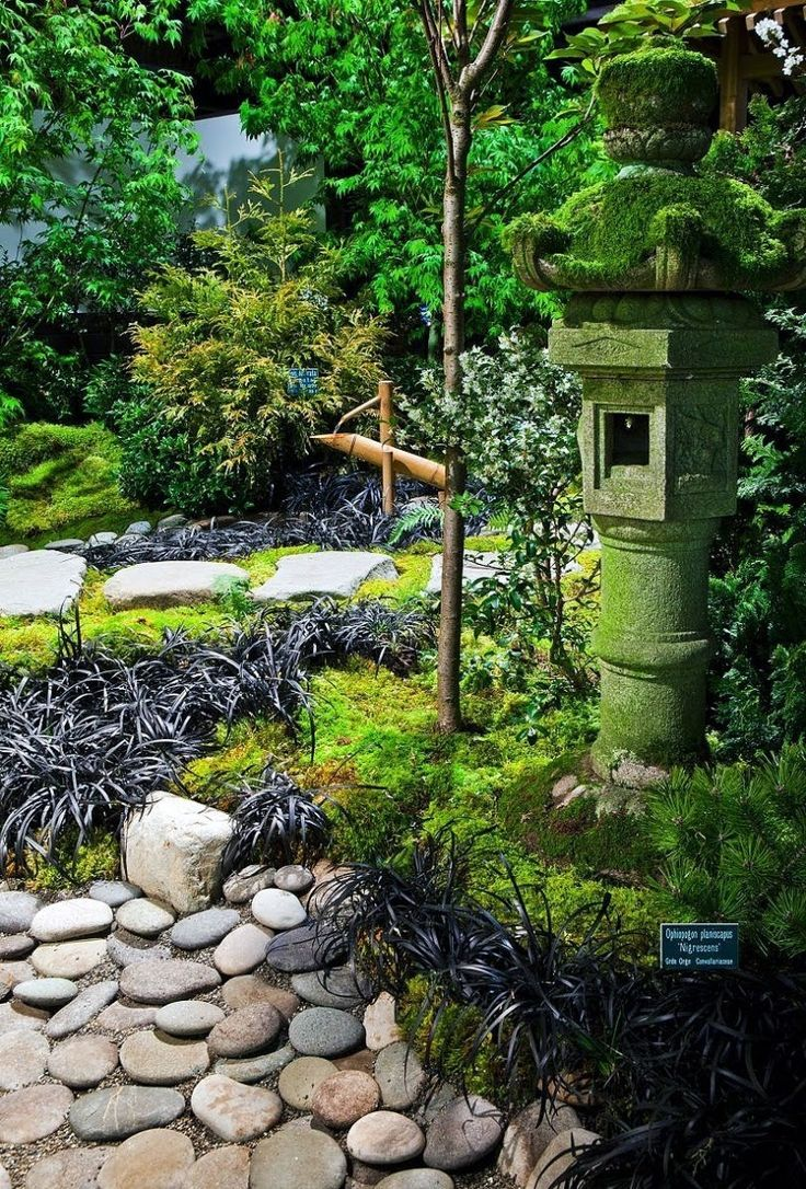 japanese garden tall lantern with natural stone