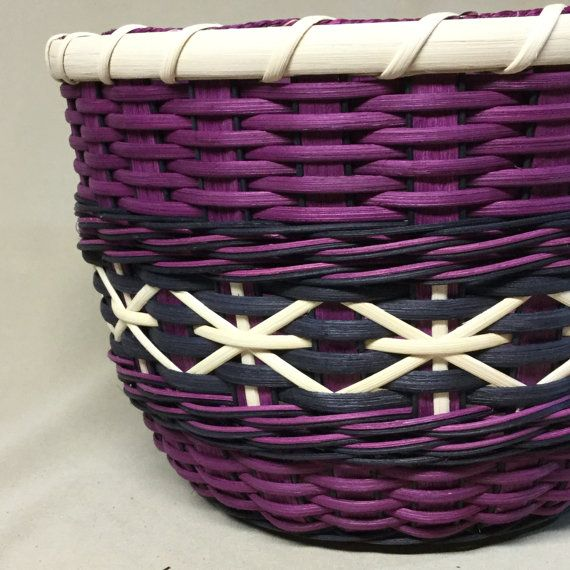Hand Woven Tall Round Bowl-Type Basket with Wood Base