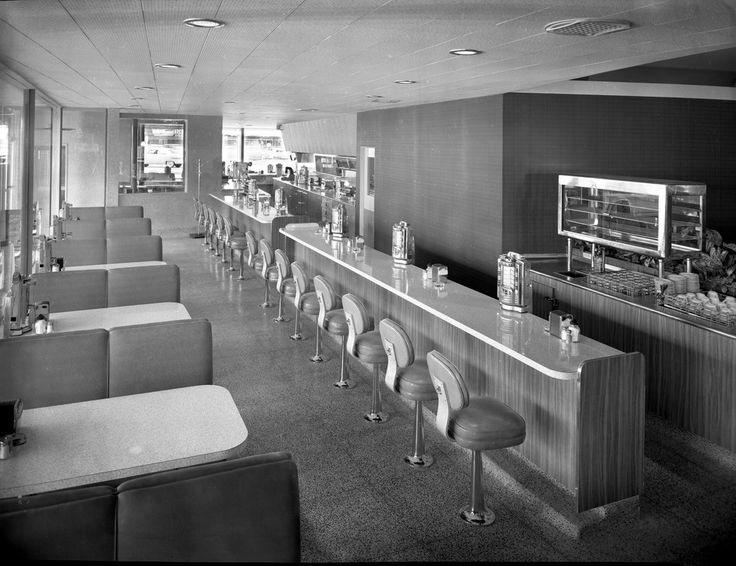 Shown is the length of the booth seat and counter seating area at Tiny's Drive-In in San Jose, California. Creator/Contributor: Del Carlo, Arnold Date: May 4, 1956 Contributing Institution: Sourisseau Academy for State and Local History