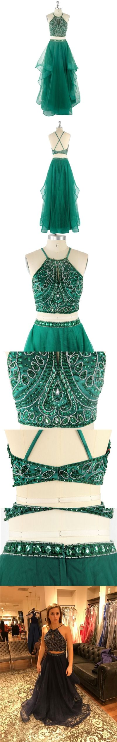 Two Piece Prom Dresses A-line Halter Floor-length Hunter Green Prom Dress/Evening Dress JKL279#Halter #HalterDress #fashion #twopiece #style #dance #longpromdress #LongDress #promdress