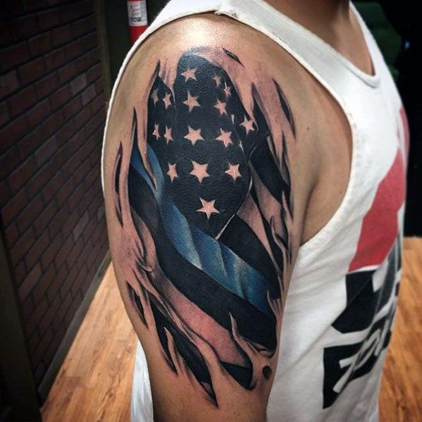 ... Thin Blue Line Torn Skin American Flag Tattoos For Men On Arm