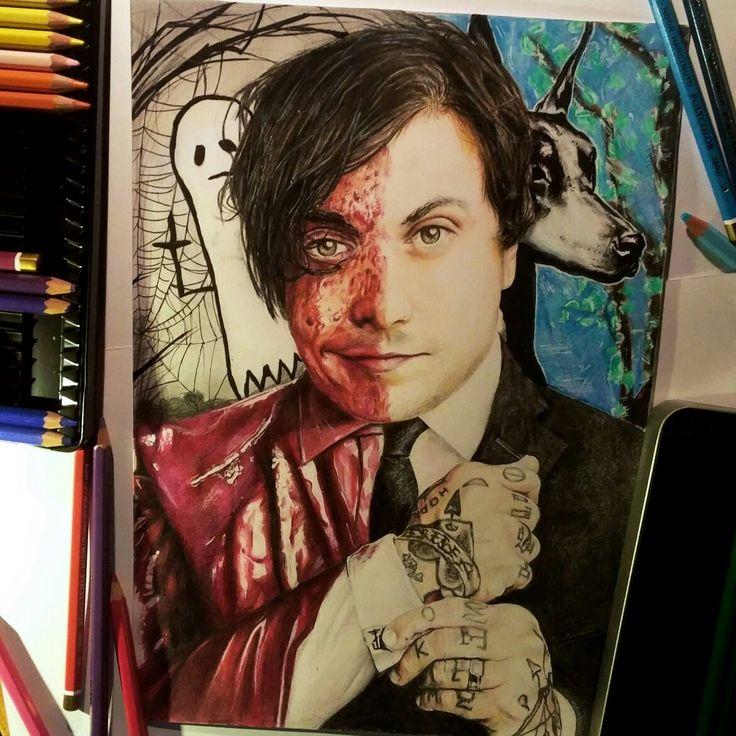 Frank Iero fanart colored pencil ig: @eenterprisee<<<this is so sick!!<<< SO SICK!!
