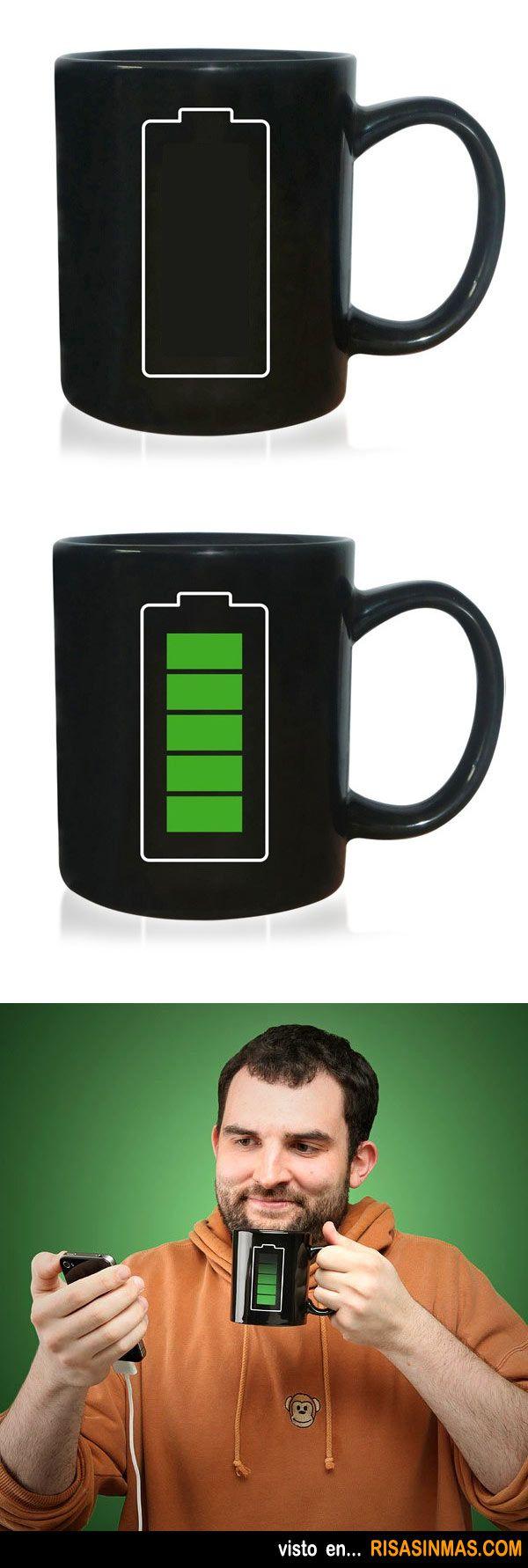 Tazas de café originales: BateríaCuando la taza se calienta el gráfico de carga de batería comienza a cargarse.