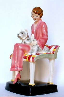 Goldscheider Art Deco Figurine Elegant 1930s Lady Seated with Two Dogs | eBay