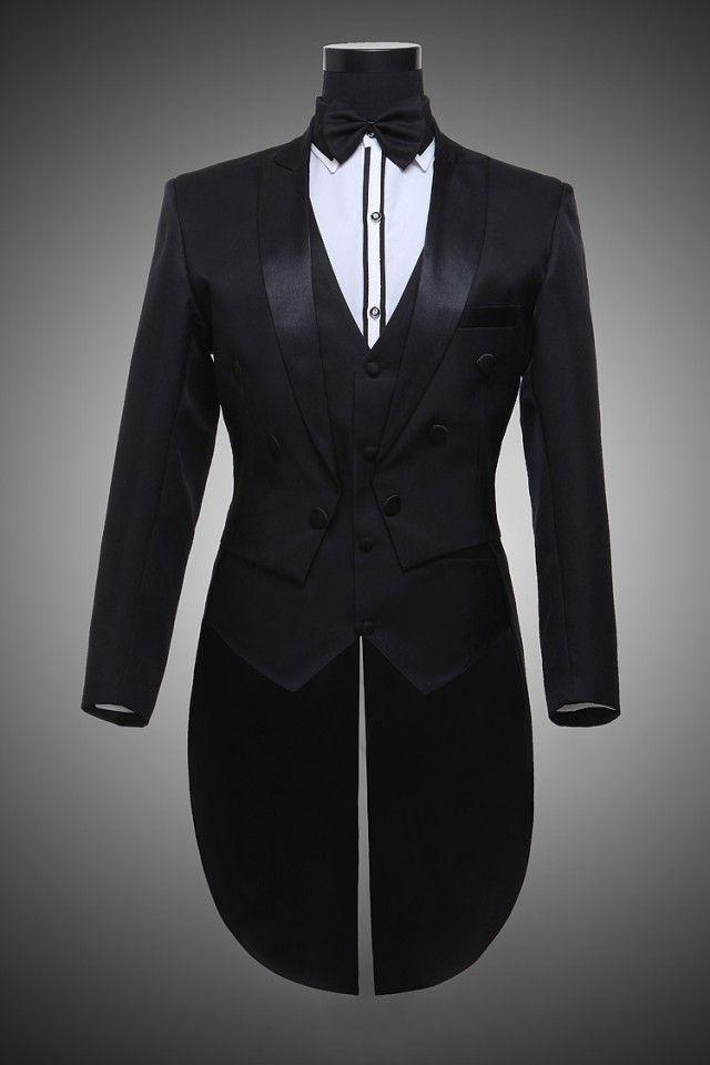 Male Black Beige Magician Tuxedo Suits Set Formal Stage Wear Dress