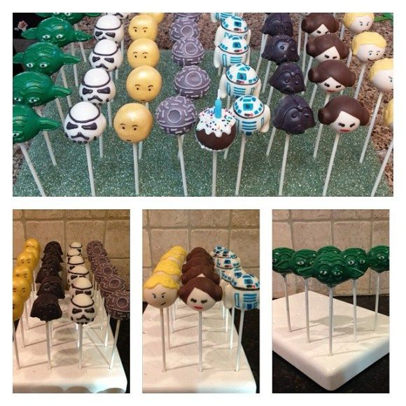 Star Wars cake pops: Luke Skywalker, Death Star, R2D2, 3CPO, Yoda, Princess Leia, Darth Vader, Storm Trooper