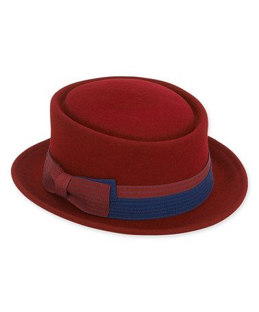 Loving this Burgundy & Navy Grosgrain Ribbon Wool-Blend Hat on #zulily! #zulilyfinds