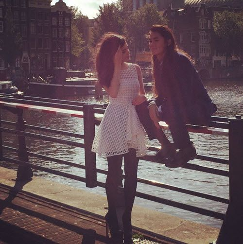 Sofia Carson and Booboo Stewart in Amsterdam - I love Sofia's Dress!! So Cute!