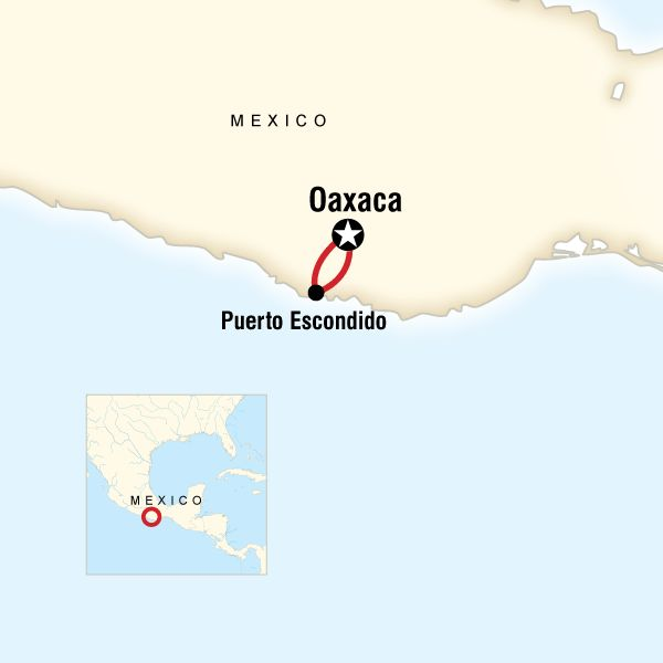 Map of the route for Oaxaca Day of the Dead & Puerto Escondido
