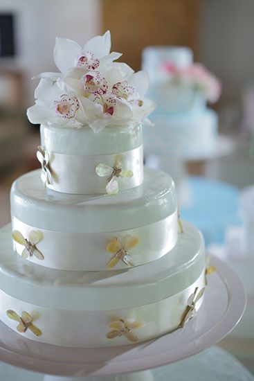 Peppermint Green Fondant icing 3 tied cake trimmed with White ribbon & Mother of pearl - spoon accent and  Cymbidium topper by Tirtha Bridal Uluwatu Bali #wedding #cake
