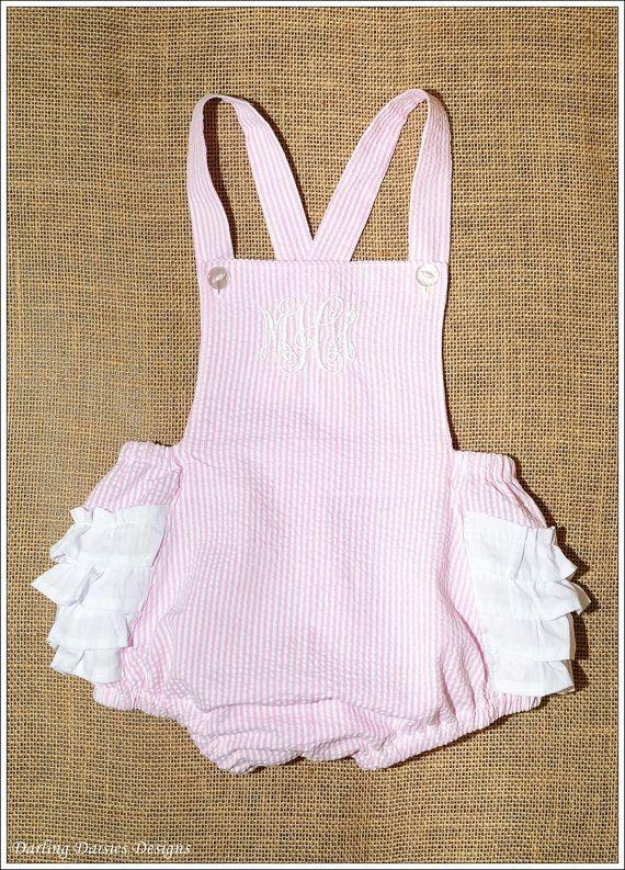 Seersucker Monogrammed Ruffle Bottom Sunsuit, Monogram, Personalized, baby, toddler, girl, dress and bloomers