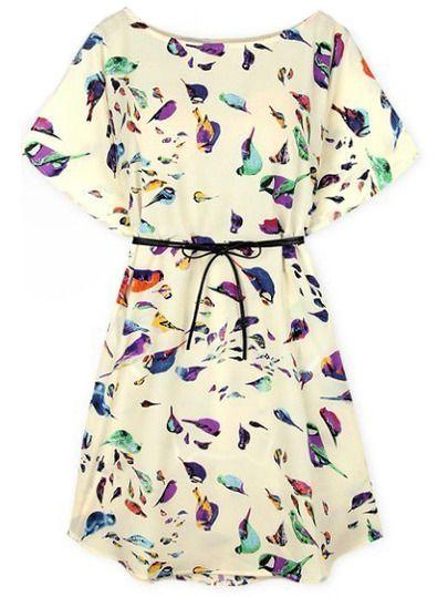 Kurzarm-Kleid mit Vögel-Drucken, beige