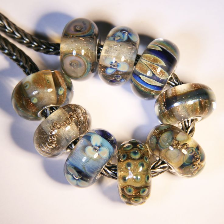 Gray and blue by Anne Meiborg. fit Trollbeads. www.annemeiborg.etsy.com
