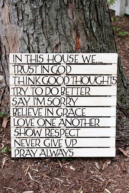 "pallet wall art ""In this House""  You know I love it"