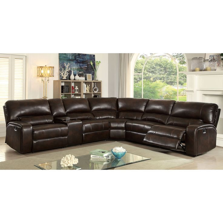 furniture of america decha breathable leatherette brown reclining sectional brown