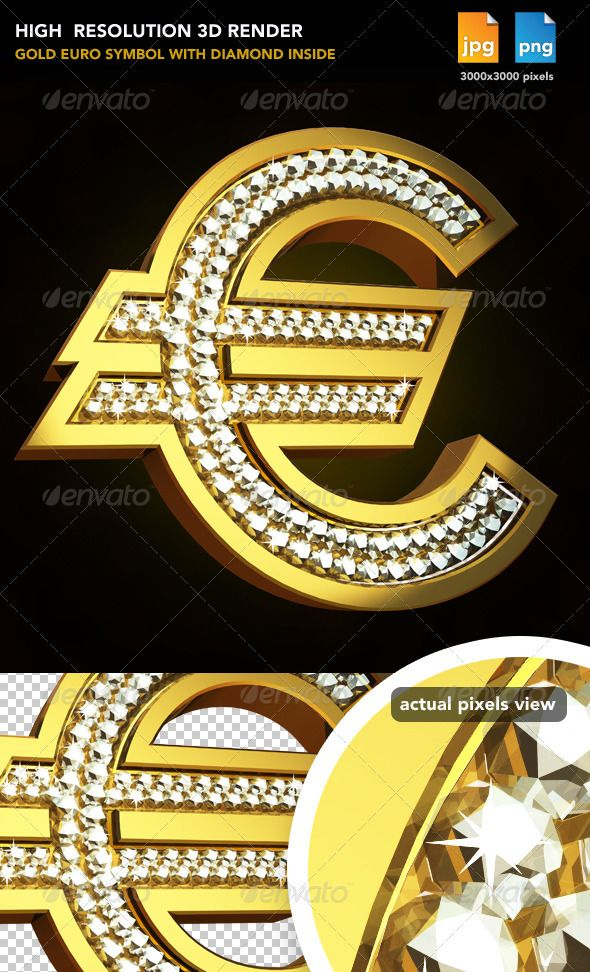 Gold Euro Sign  #GraphicRiver         Gold Euro sign with diamond inside     Created: 16August11 GraphicsFilesIncluded: TransparentPNG #JPGImage #AIIllustrator Layered: No MinimumAdobeCSVersion: CS PixelDimensions: 3000x3000 Tags: bank #blinkblink.shiny #cool #diamond #euro #eurosign.money #financial #gold #silver